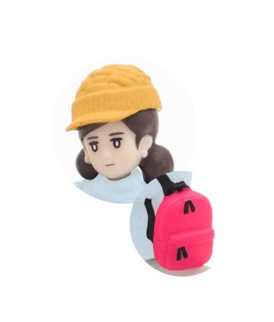 ニット帽(イエロー)&リュック(ピンク)