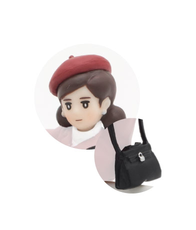 ベレー帽(エンジ)&ショルダーバッグ(ブラック)