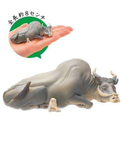 牛と子犬(「白象黒牛図屏風」より)
